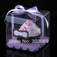 Free Shipping Single Plastic Boxes Transparent Boxes PP Boxes Single Cupcake Boxes  24pcs
