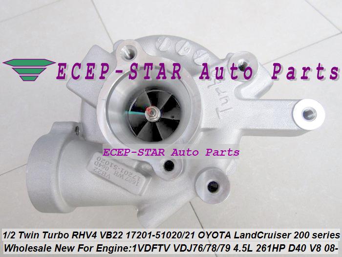 1pc Twin Turbo RHV4 VB22 17201-51020 17201-51021 Turbo For TOYOTA Land Cruiser 200 series D-40 V8 1VD-FTV VDJ76 VDJ78 VDJ79 4.5L (5)