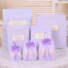 50pcs wedding souvenirs pueple Ribbon Gift Paper Bags Engagement Anniversary Wedding Party Cake Favour Favor wedding decor