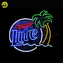 Neon Sign Miller Lite Palm Tree Sign Harley Davidson Miller Time Musica Texas Dallas Ohio State MGD Packers Glass Tube Neon VD(China)