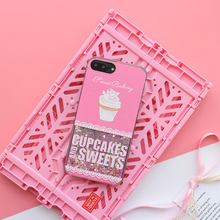 Cute Sweet cupcakes Ice Cream Glitter Bling Dynamic Liquid Quicksand Back Cover For iPhone 6 6S 7 Plus phone ase for iphone 6 6s