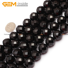 Natural Round Faceted Black Agat Onyx Beads For Jewelry Making Top Grade AA 6-14mm 15inch DIY FreeShipping Wholesale Gem-inside(China)