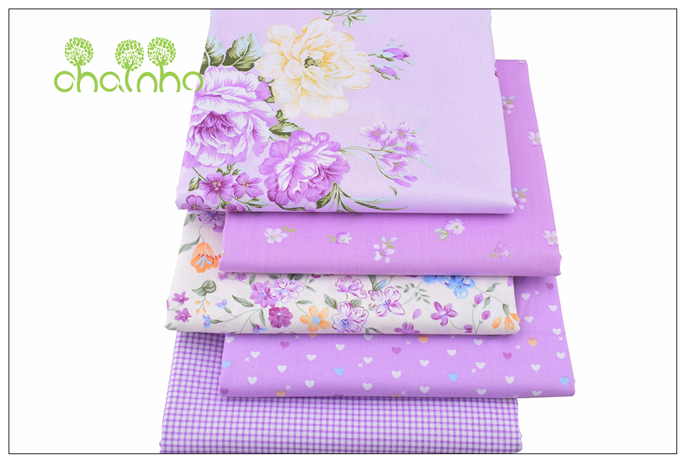 Chainho Twill Cotton Fabric,Patchwork Floral Tissue Cloth,DIY Sewing Quilting Fat Quarters Material For Baby&Children,5pcs/lot 4