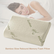 HOT Original Bamboo Fiber Pillow Slow Rebound Health Care Memory Foam Pillow Memory Foam Pillow Support The Neck Fatigue Relief(China)