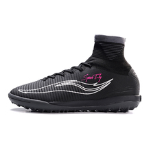 Sufei Football Boots Men Superfly Soccer Shoes TF High Ankle Black Dark Grey Cheap Original Futsal Sock Cleats Sport Sneakers(China)