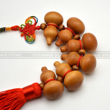 Feng Shui Peach Wood The Chinese knot miniature Gourd  Wood Amulet home decoration accessories  gift