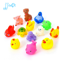 13Pcs Lovely Mixed Colorful Rubber Can float On water And sound when Squeeze You Squeaky Bathing Toy For Bath Duck