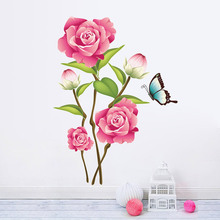 3d Romantic Blossom Flower wall stickers home decoration DIY living room wallpaper decals mural art poster 4.0(China)