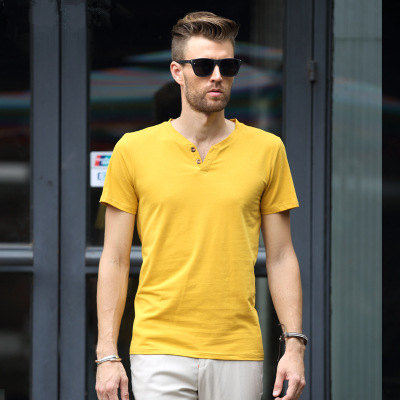 MRMT 2018 Brand New Mens T Shirt Short Sleeved T-Shirt V Collar Two Button Buttons Solid Colored Tshirt For Male Tops 53