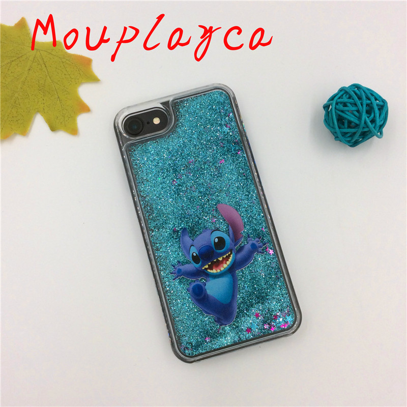 Cute cartoon Mickey Minnie Stitch Little Mermaid for iphone 6 6s plus 7 plus phone cases Hard plastic PC quicksand cases
