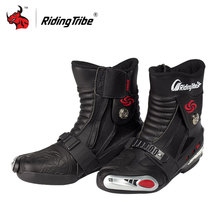 Riding Tribe Motorcycle Boots PU Leather Moto Off-Road Mid-Calf Motorcycle Shoes Moto Boots Motorbike Boots Red Black White(China)