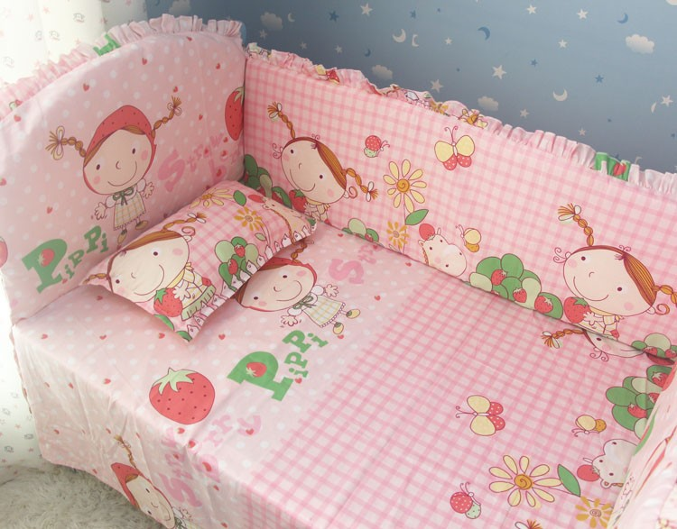Promotion! 6pcs Cotton Pink Baby Bedding Set Cartoon Crib Bedding Set  ,include (bumpers+sheet+pillow cover)<br><br>Aliexpress