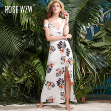 Buy ROSE WZW summer women maxi sexy camis deep v neck beach dress 2017 long holiday style print ruffle split dresses vestidos robe for $18.33 in AliExpress store