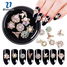 Blueness 1 Box Mix 8 different 3D Gold Color Protein Drill Shiny Metal Nail Art Stickers Alloy Rhinestone Decoration JH496(China)