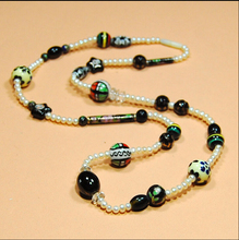 XUEYUN 2017 603+++National wind ceramic decorative necklace, natural pearl, long money accessories(China)