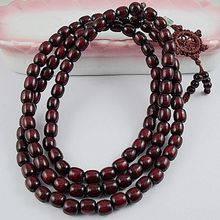 8mm Tibetan Buddhism 108 Red sandalwood Prayer barrel Bead Mala Necklace