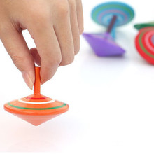 Multicolor Rotating Spinning Top Wood Educational Toys For Children Stress Relief Toy Wooden Hand Spinner Kids Classic Toys(China)