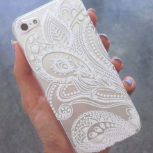 Malloo 2017 Henna White Floral Flower Slim Plastic Hard Cell Phones Case Cover Skin Mobile Phone Accessories for iPhone 5S
