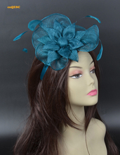Teal blue sinamay fascinator feather fascinator Bridal fascinator wedding fascinator headpiece  Wedding Bridal Accessories.
