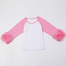 Fashion Blanks Ruffle Sleeve Raglan Cuff Baby Girl Clothes T-Shirt Spring Summer Ruffle Sleeve Raglan Shirts Ruffle Icing  V20