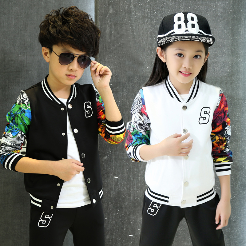 New girls boys clothes sport suit fashion print baseball jersey two piece children clothing set 3-15years kids clothes tracksuit<br><br>Aliexpress