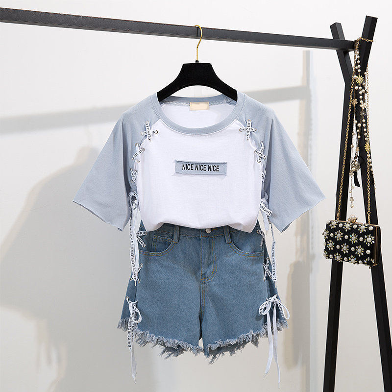 2019 Summer Women O Neck Two-tone T-shirt + Casual Denim Shorts 2 pcs set Students Young Girls suits A1135