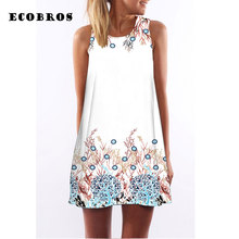 Buy ECOBROS 2017 Summer New Woman Dress casual sleeveless Loose tree print mini dresses plus size woman clothing dress for $7.99 in AliExpress store