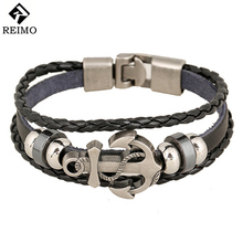 Fashion Jewelry anchor Alloy Leather Bracelet Men Casual personality PU Woven Beaded Bracelet Vintage Punk Bracelet Women BC036(China)