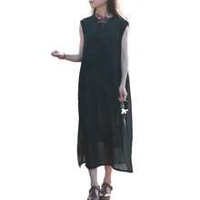 Black Sundress Tank Chiffon Dresses Basic Tunic Cheongsam Fake 2 Pieces Women Midi Dress Vintage Robe Femme Chinese Dress Qipao