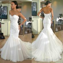 Lace Mermaid Wedding Dresses Sweetheart Lace Tulle Sweep Train 2017 Simple Design Bridal Gowns Zipper Back Custom Made W966