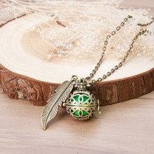 DoreenBeads Pregnancy Baby Wish Box crown Feather Pendants antique bronze with green sounding beads Fashion Necklace 77cm,1 PC(China)