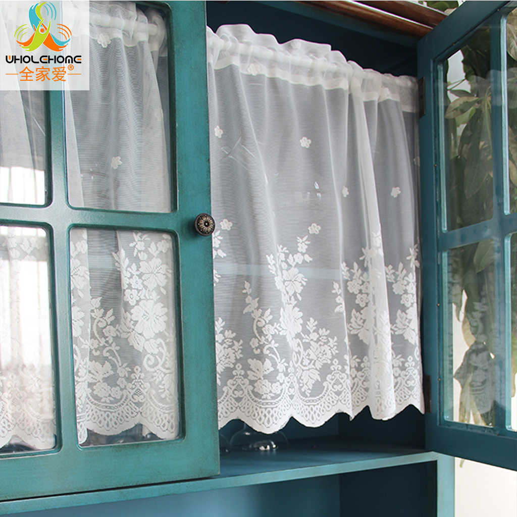 1 PCS Fashion Cafe Floral Polyester Voile Pastoral Kitchen Curtain Lace Small Cafe Curtain For the Kitchen Home Decoration