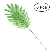 6 Pcs Artificial Coconut Palm Leaves Tropical Plant Fake Palm Leaves Greens for Flower bouquets Floral Wedding Decoration(China)