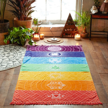 Rectangle Tassel Tapestry Floral Printed Bohemian Beach Towel Yoga Mat Cover-Up Rainbow Color High Water Absorbent Mattress(China)