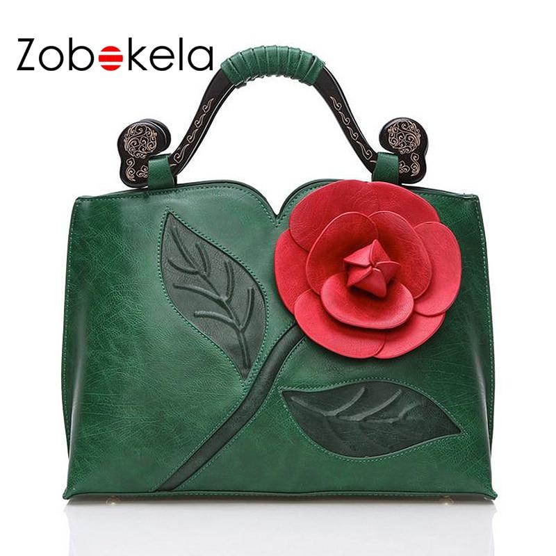 ZOBOKELA Women Messenger Bags female Women Leather Handbags Famous Brand 3D Flowers women Shoulder crossbody bags for women 2017<br>