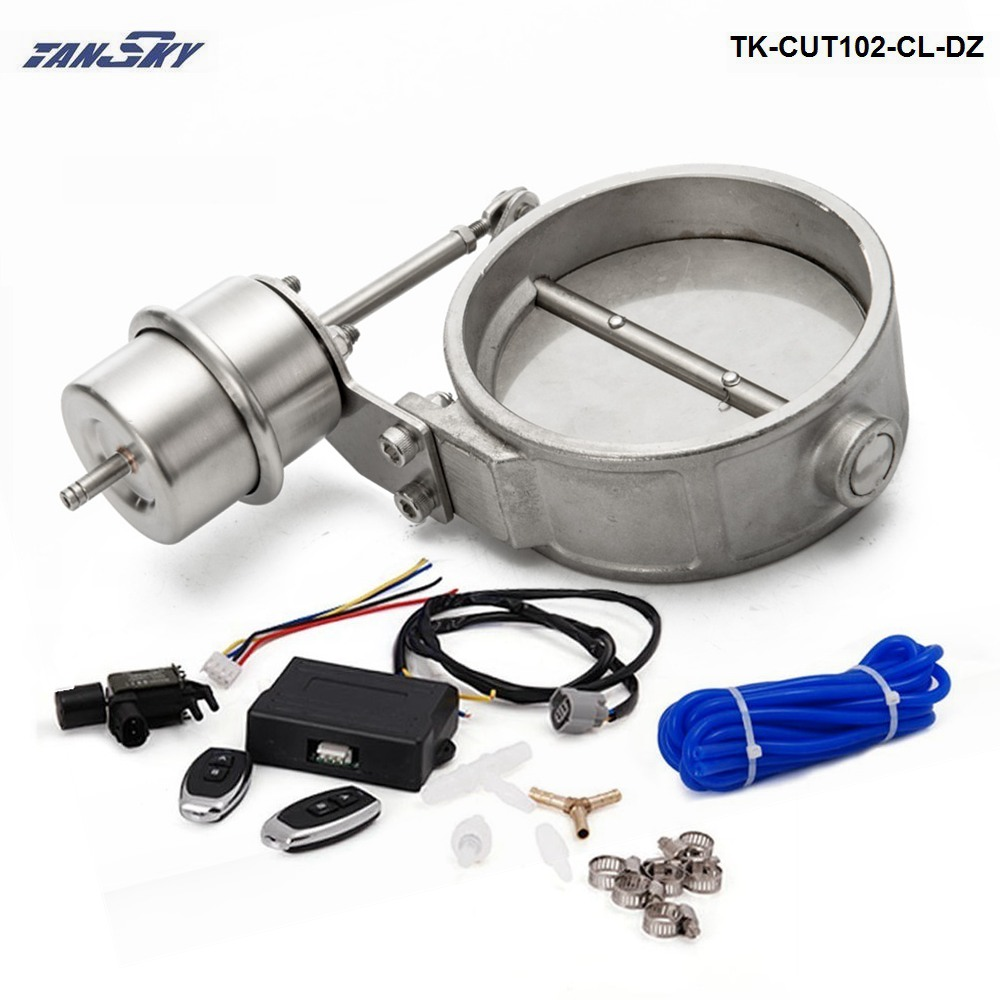 TANSKY-Exhaust Control Valve Set With Vacuum Actuator CUTOUT 102mm Pipe CLOSE STYLE W/Wireless Remote Controller TK-CUT102-CL-DZ