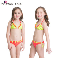 2017 New Children Kids Baby Girls Bikinis 2pcs Swimwear Swimsuit Cute Flower Orange Bathing Suit Children Girl Beach Wear 406