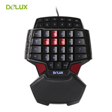Delux T9 Single Hand Professional Gaming Keyboard LED Backlight Double Space CF CS LOL USB Wired Mini Portable Game Key Board(China)