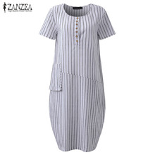 ZANZEA 2017 Summer Women Fashion Short Sleeve Striped Shirt Dresses New Crew Neck Cotton Linen Button Holiday Beach Vestidos(China)