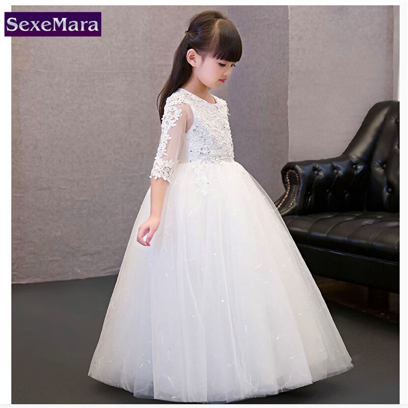 Kids Girls Wedding Flower Girl Dress Princess Party Pageant Formal Dress Long Short Sleeves Lace Vestidos Infantil 2-11Y<br>