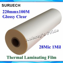 "1 PC 28Mic 220mmx100M 1Mil Glossy 1"" Core Hot Laminating Films Bopp for Hot Roll Laminator(China)"