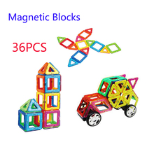 36pcs Magnetic Building Blocks Toy Square Triangle Multicolor Part DIY Bricks Magnetic Designer for Kids(China)
