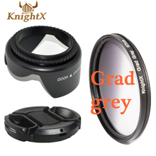 KnightX 49mm-77mm 67mm Gradient ND GREY Filter Kit Center Pinch Snap on Front Cap for nikon d7200 for canon 1200d camera digital