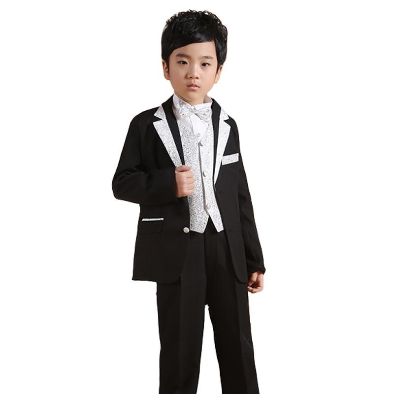 Boys Black Wedding suits Kids Autumn Clothing sets 6PCS Tuxedo suit for Boys Formal attrie Children Silver Dress suit<br>
