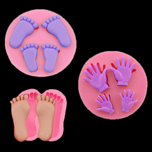 Baby Foot 3d Silicone Mold Small Hand Silicone Mold Cake Decoration Molding Diy Baking Tools Handicraft Production  Stencil