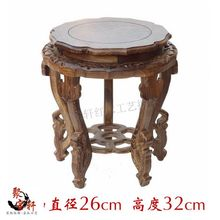 Chicken wings carved mahogany handicraft circular base solid wood flower of Buddha stone flowerpot vase furnishing articles