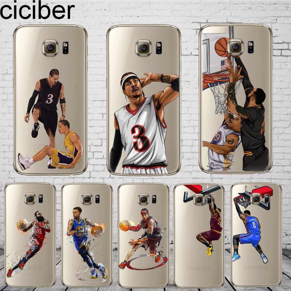 46b52e900e9f ciciber Basketball Curry Harden James Iverson Phone Cases For Samsung Galaxy  S7 S9 S6 Edge S8