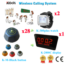 Wireless Table Call Bell System Waiter Pager Restaurant Button Server Bell Ycall Brand CE( 1 display+ 2 watch+ 28 call button)(China)
