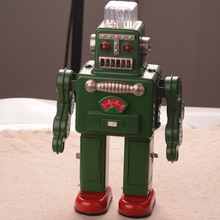 30 cm Tinplate Big Robot Toys Classic Electric Lighting Robot Toy Handmade Crafts Collection