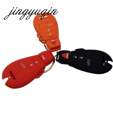 jingyuqin Silicone Case for Chrysler Dodge JCUV Ddart Jeep Grand Cherokee Compass Longitude Patriot 4 Button Car Key Cover